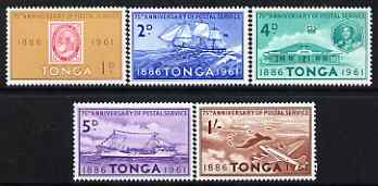 Tonga 1961 75th Anniversary of Tongan Postal services perf set of 5 unmounted mint, SG 115-19