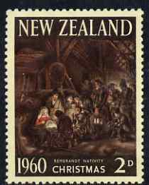New Zealand 1960 Christmas 2d (Adoration of the Shepherds by Rembrandt) unmounted mint, SG 805*