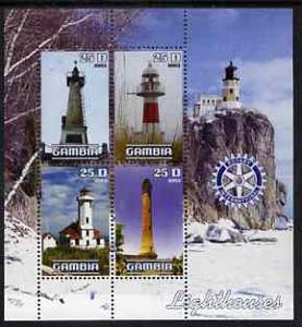 Gambia 2003 Lighthouses perf sheetlet containing 4 values with Rotary logo, unmounted mint
