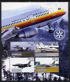 Gambia 2003 Aircraft perf sheetlet containing 4 values with Rotary logo, unmounted mint