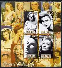 Gambia 2003 Classic Actresses perf sheetlet containing 4 values, unmounted mint (Monroe, Grace Kelly, M Dietrich & I Bergman)