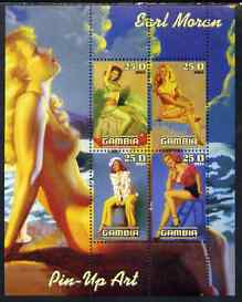Gambia 2003 Pin-up Art of Earl Moran perf sheetlet containing 4 values, unmounted mint