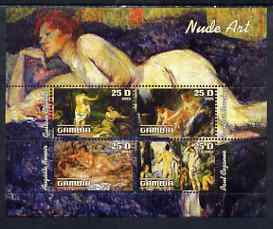 Gambia 2003 Nude Art perf sheetlet containing 4 values, unmounted mint (Renoir, Courbet, Boucher & Cezanne)