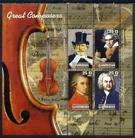 Gambia 2003 Great Composers perf sheetlet containing 4 values, unmounted mint (Verdi, Mozart, Beethoven & Bach)