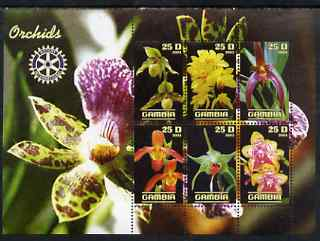 Gambia 2003 Orchids perf sheetlet containing 6 values with Rotary logo, unmounted mint