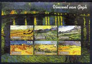 Gambia 2003 Paintings by Vincent Van Gogh perf sheetlet containing 6 values, unmounted mint