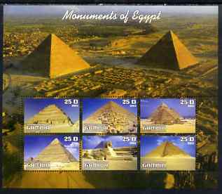 Gambia 2003 Monuments of Egypt (Pyramids) perf sheetlet containing 6 values, unmounted mint