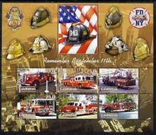 Gambia 2003 Fire Engines - Remember Sept 11th perf sheetlet containing 6 values, unmounted mint