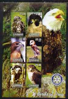 Gambia 2003 Birds of Prey perf sheetlet containing 6 values with Rotary logo, unmounted mint