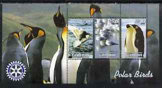 Gambia 2003 Polar Birds perf sheetlet containing 3 values with Rotary logo, unmounted mint