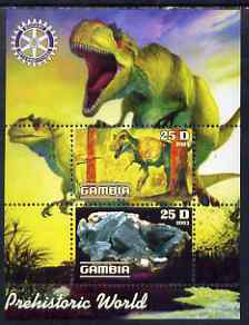 Gambia 2003 Prehistoric World perf sheetlet containing 2 values with Rotary logo, unmounted mint