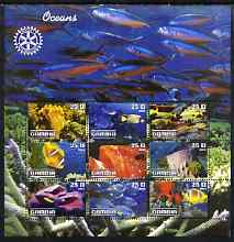 Gambia 2003 Ocean Life perf sheetlet containing 9 values with Rotary logo, unmounted mint