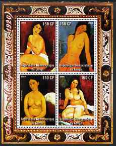 Congo 2004 Nude Paintings by Amedeo Modigliani perf sheetlet containing 4 values, unmounted mint