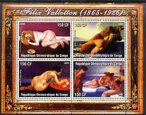 Congo 2004 Nude Paintings by Felix Vallotton perf sheetlet containing 4 values, unmounted mint