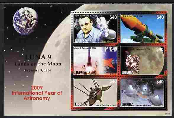 Liberia 2009 International Year of Astronomy perf sheetlet containing 6 values unmounted mint