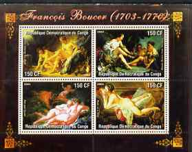Congo 2004 Nude Paintings by Francois Boucher perf sheetlet containing 4 values, unmounted mint