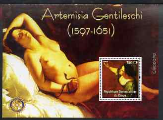 Congo 2004 Paintings by Artemisia Gentileschi perf souvenir sheet with Rotary Logo, unmounted mint