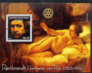 Congo 2004 Paintings by Rembrandt Harmensz van Rijn perf souvenir sheet with Rotary Logo, unmounted mint