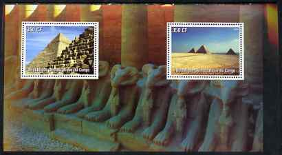 Congo 2003 Pyramids of Egypt perf souvenir sheet containing 2 values, unmounted mint