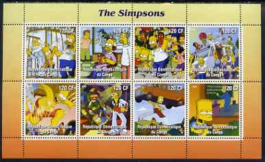 Congo 2004 Cartoons - The Simpsons perf sheetlet containing 8 values, unmounted mint