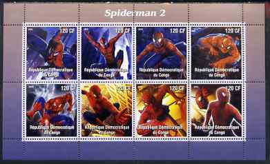 Congo 2004 Spiderman 2 perf sheetlet containing 8 values, unmounted mint
