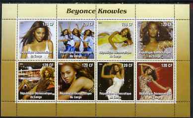 Congo 2004 Beyonce Knowles perf sheetlet containing 8 values, unmounted mint