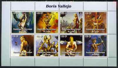 Congo 2004 Fantasy Paintings by Boris Vallejo perf sheetlet containing 8 values, unmounted mint