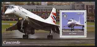 Congo 2004 Concorde #2 perf souvenir sheet with Rotary Logo, unmounted mint