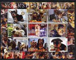 Kyrgyzstan 2004 Dogs - Yorkshire Terriers perf sheetlet containing 9 values each with Rotary Logo, unmounted mint