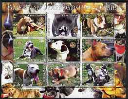 Kyrgyzstan 2004 Dogs - American Staffordshire Terriers perf sheetlet containing 9 values each with Rotary Logo, unmounted mint