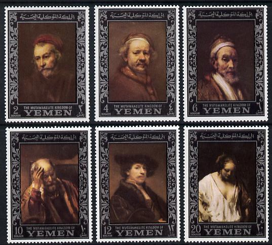 Yemen - Royalist 1967 Rembrandt perf set of 6 (borders in silver) unmounted mint SG R205-10, Mi 284-89A, stamps on arts, stamps on personalities, stamps on rembrandt, stamps on renaissance