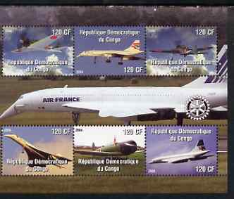 Congo 2004 Aircraft (incl Air France Concorde) perf sheetlet containing 6 values, with Rotary Logo unmounted mint