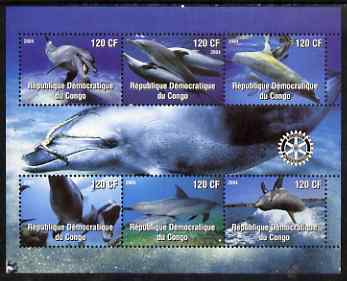 Congo 2004 Dolphins perf sheetlet containing 6 values, with Rotary Logo unmounted mint