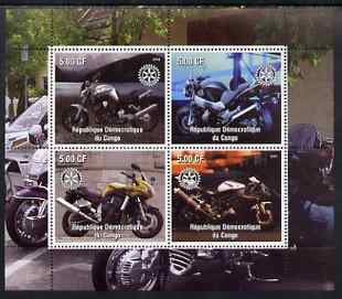 Congo 2003 Modern Motorcycles #1 perf sheetlet containing 4 values each with Rotary Logo, unmounted mint