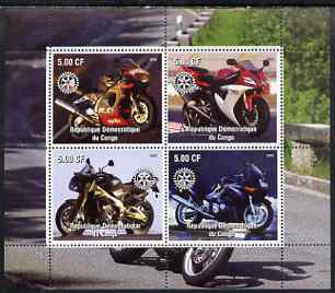 Congo 2003 Modern Motorcycles #3 perf sheetlet containing 4 values each with Rotary Logo, unmounted mint