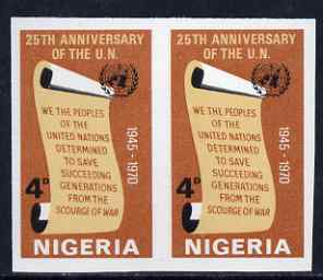 Nigeria 1970 25th Anniversary of United Nations 4d imperf pair unmounted min SG 246var
