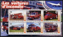 Ivory Coast 2003 Fire Engines #1 perf sheetlet containing set of 6 values (each with Scout Logo & Concorde in Margin) unmounted mint