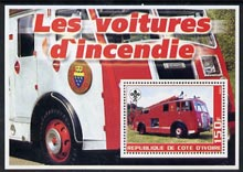 Ivory Coast 2003 Fire Engines #1 perf m/sheet (with Scout Logo) unmounted mint