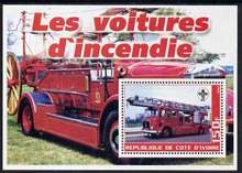 Ivory Coast 2003 Fire Engines #2 perf m/sheet (with Scout Logo) unmounted mint
