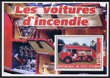 Ivory Coast 2003 Fire Engines #3 perf m/sheet (with Scout Logo) unmounted mint