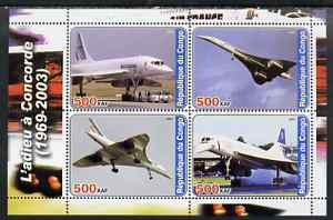 Congo 2003 Concorde #1 perf sheetlet containing set of 4 values unmounted mint