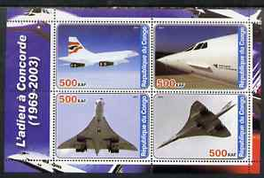 Congo 2003 Concorde #2 perf sheetlet containing set of 4 values unmounted mint