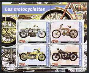 Congo 2003 Early Motorcycles #1 perf sheetlet containing set of 4 values unmounted mint