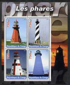 Congo 2003 Lighthouses perf sheetlet containing set of 4 values unmounted mint