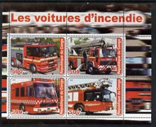 Congo 2003 Fire Engines #3 perf sheetlet containing set of 4 values unmounted mint