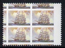 Australia 1984 Clipper Ships 75c perf proof single with 43% reduction showing portions of several stamps and/or marginal markings, unmounted mint as SG 913