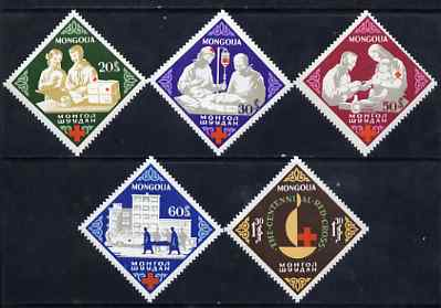 Mongolia 1963 Red Cross Centenary Diamond Sgaped perf set of 5 unmounted mint, SG 310-14