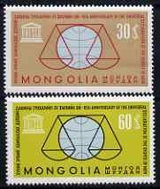 Mongolia 1963 Human Rights perf set of 2 unmounted mint, SG 325-26