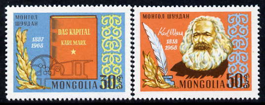 Mongolia 1968 150th Birth Anniversary of Karl Marx, perf set of 2 unmounted mint, SG 477-78, stamps on personalities, stamps on marx, stamps on constitutions