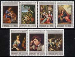 Mongolia 1968 20th Anniversary of UNESCO - Paintings by Europen Masters perf set of 7 unmounted mint, SG 498-504
